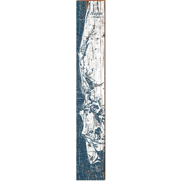 "Naples, Florida Navy & White Shabby Styled Map Large | Size: 9.5"" x 60"" Wall Art-Mill Wood Art"