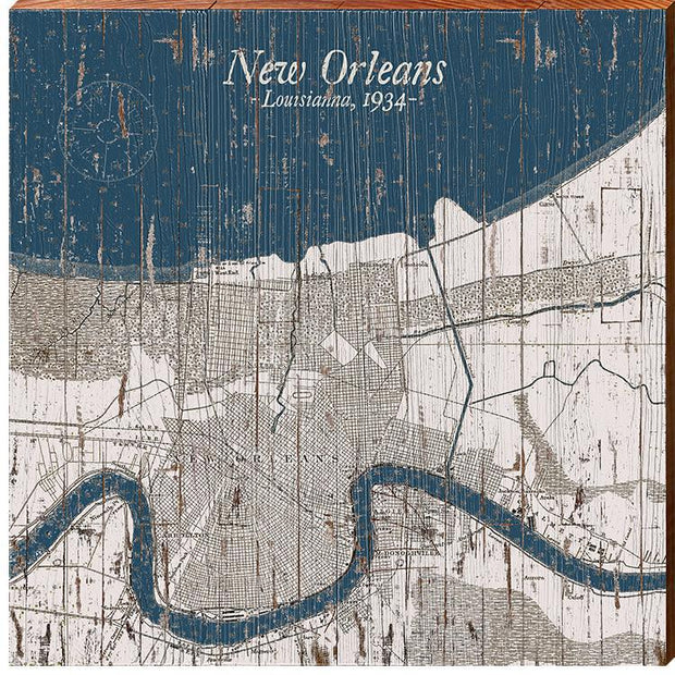 New Orleans, Louisiana 1934 Navy & White Shabby Styled Map Square Wall Art-Mill Wood Art