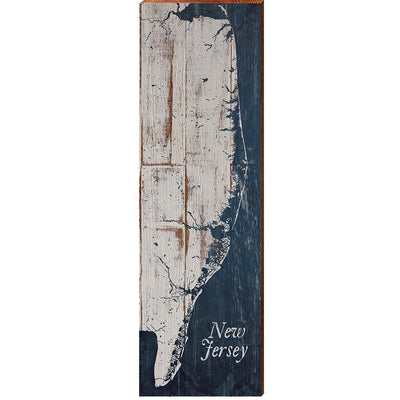 "New Jersey Shabby Vertical Map Home Decor Art Print on Real Wood (9.5""x30"") Wall Art-Mill Wood Art"