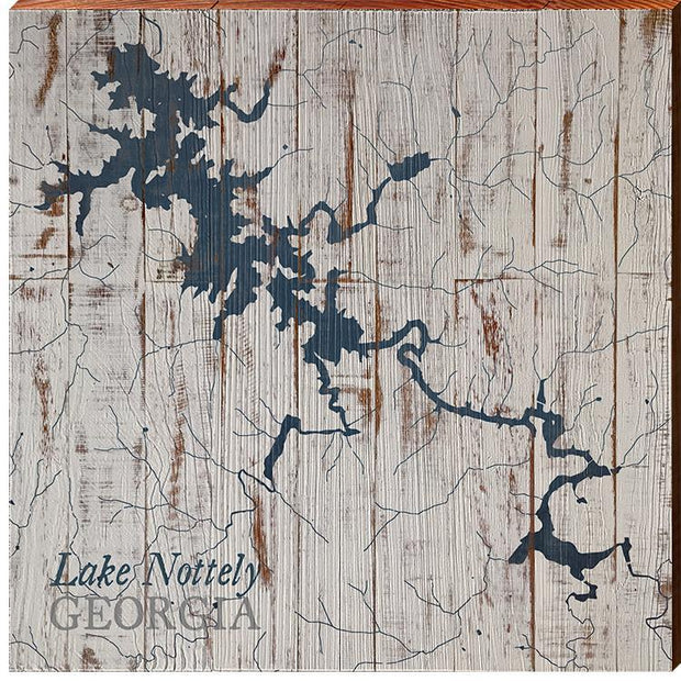 Lake Nottely, Georgia Navy & White Shabby Styled Map Square Wall Art-Mill Wood Art