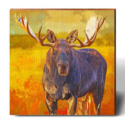 Firey Amber Moose Square Piece-Mill Wood Art