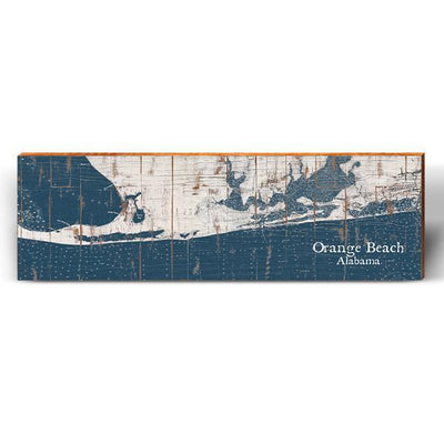 Orange Beach, Alabama Navy & White Shabby Map Wall Art-Mill Wood Art