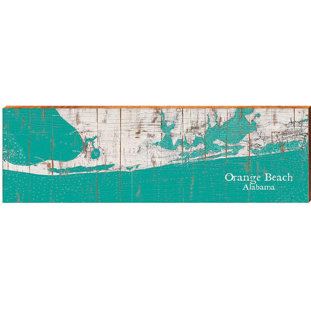 Orange Beach , Alabama Teal & White Shabby Map Wall Art-Mill Wood Art