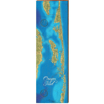 "Oregon Inlet, NC Map Home Decor Art Print on Real Wood (9.5""x30"") Wall Art-Mill Wood Art"