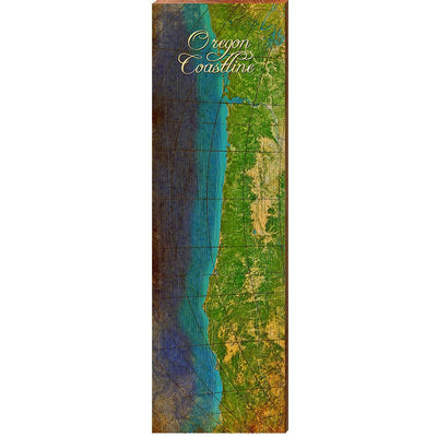 "Oregon Coastline Antique Map Home Decor Art Print on Real Wood (9.5""x30"") Wall Art-Mill Wood Art"