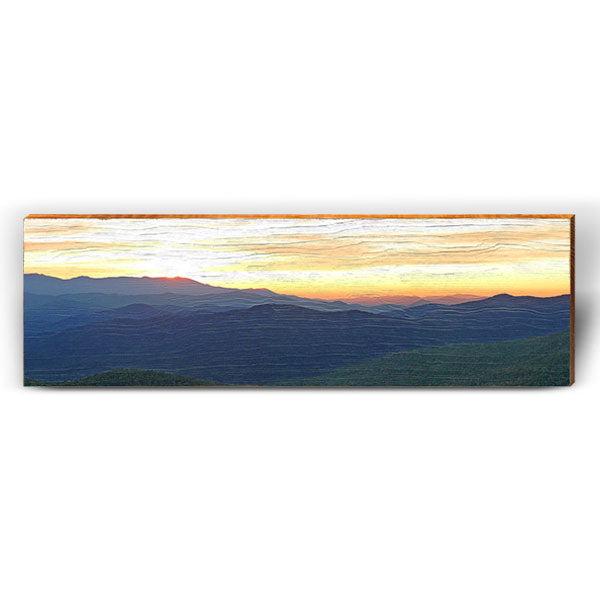 Mountain Sunset Piece-Mill Wood Art