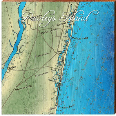 Pawleys Island, South Carolina Topographical Map-Mill Wood Art