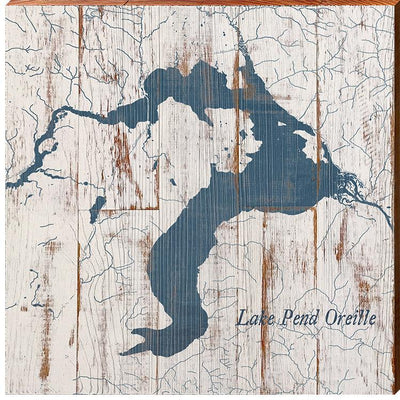 Lake Pend Oreille, Idaho Navy & White Shabby Styled Map Square Wall Art-Mill Wood Art