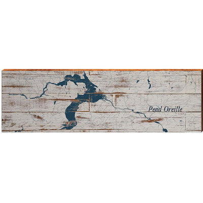 Lake Pend Oreille, Idaho Navy & White Shabby Styled Map Wall Art-Mill Wood Art