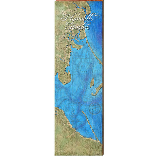 Plymouth Harbor, Massachusetts Topographical Styled Chart-Mill Wood Art