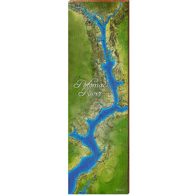 Potomac River Topographical Map Wall Art-Mill Wood Art