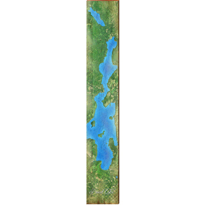 "Priest Lake, Idaho Satellite Styled Map Large | Size: 9.5"" x 60"" Wall Art-Mill Wood Art"