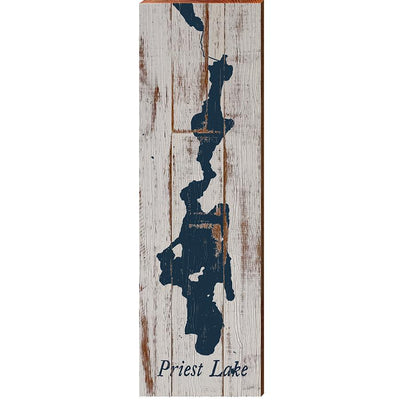 Priest Lake, Idaho Navy & White Shabby Styled Map Wall Art-Mill Wood Art