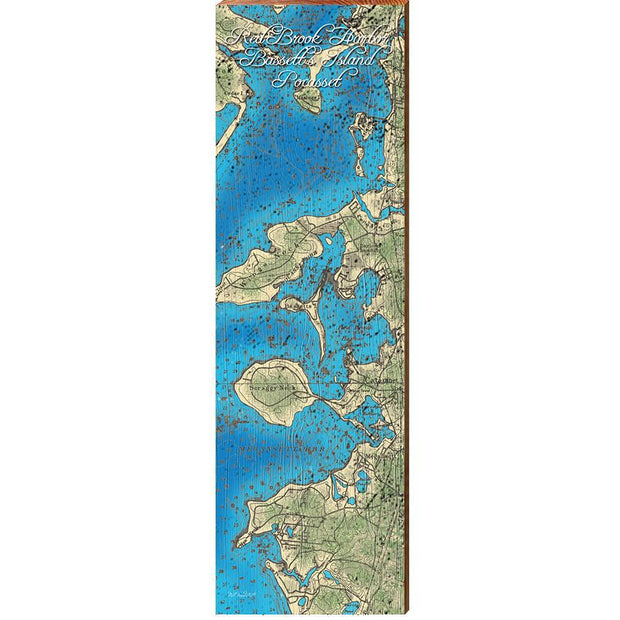 Red Brook Harbor, Bassetts Island, and Pocasset, Massachusetts Topographical Styled Map Wall Art-Mill Wood Art