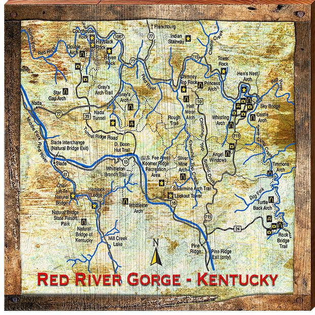 Red River Gorge, Kentucky Map Wall Art-Mill Wood Art
