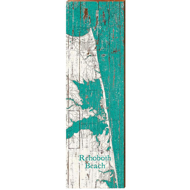 Rehoboth Beach, Delaware Teal & White Shabby Styled Map Wall Art-Mill Wood Art