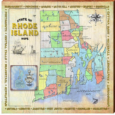 State of Rhode Island Political Map-Mill Wood Art