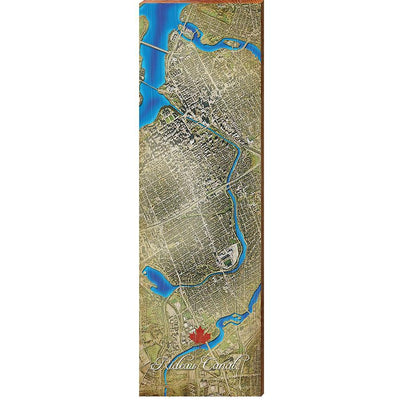 Rideau Canal, Canada Satellite Map Wall Art-Mill Wood Art