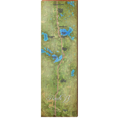 Route 13, Indiana with Points Satellite Styled Map Wall Art-Mill Wood Art