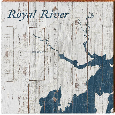 Royal River, Maine Navy & White Shabby Styled Map Square Wall Art-Mill Wood Art