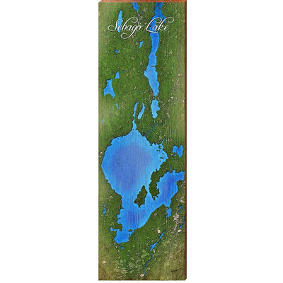 Sebago Lake, Maine Satellite Styled Map Wall Art-Mill Wood Art