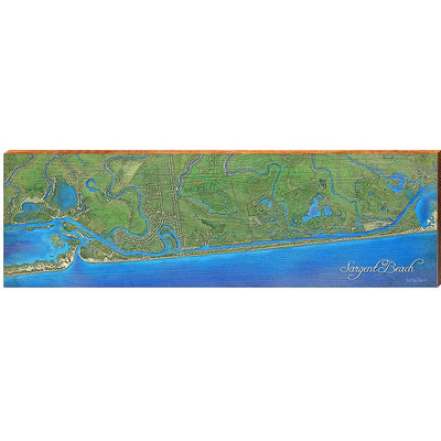 Sargent Beach, Texas Satellite Map-Mill Wood Art