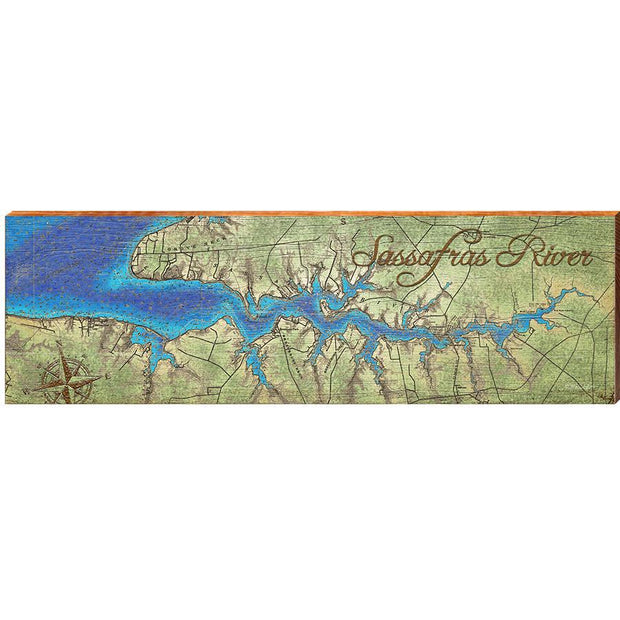 Sassafras River Topographical Map Wall Art-Mill Wood Art