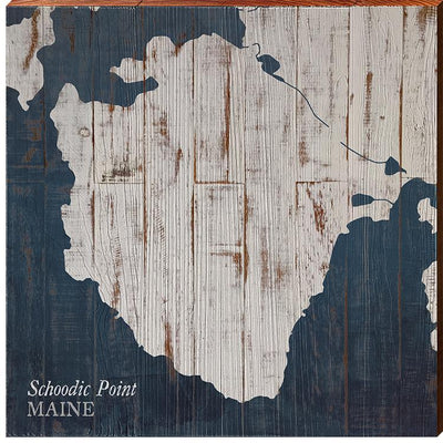 Schoodic Point, Maine Navy & White Shabby Styled Chart Square-Mill Wood Art