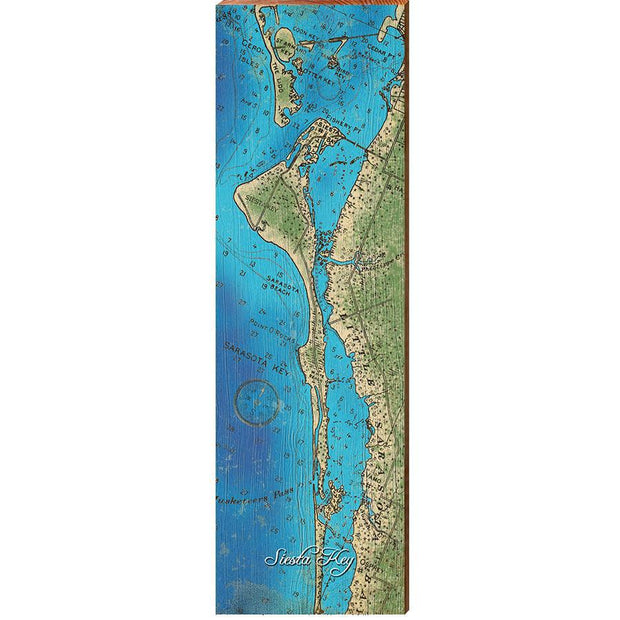 Siesta Key, Florida Topographical Map Wall Art-Mill Wood Art
