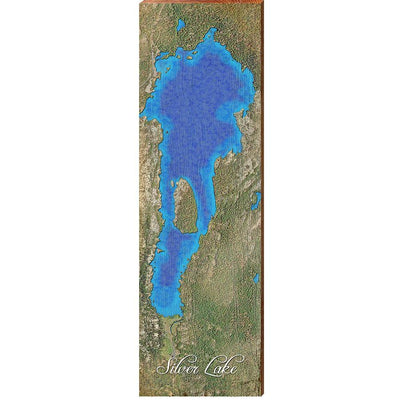 Silver Lake, California Satellite Map Wall Art-Mill Wood Art