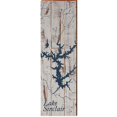 Lake Sinclair, Georgia Navy & White Shabby Styled Map Wall Art-Mill Wood Art