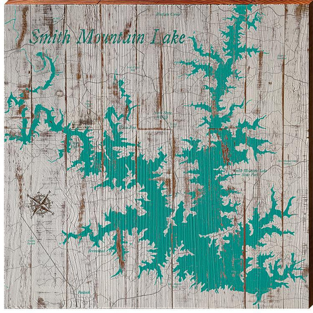 Smith Mountain Lake, Alabama Teal & White Shabby Map Wall Art-Mill Wood Art