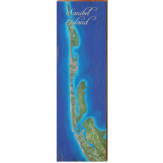 Sanibel Island, Florida Satellite Styled Map Wall Art-Mill Wood Art
