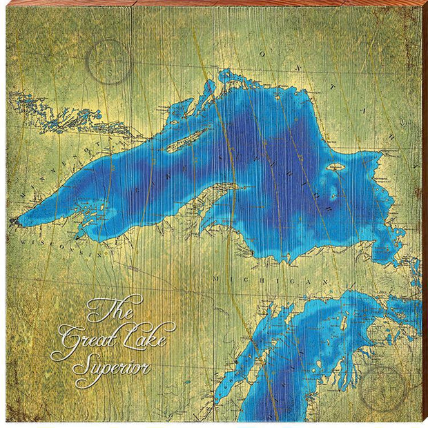 Lake Superior Topographical Styled Chart Square-Mill Wood Art