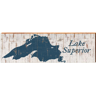 Lake Superior Navy & White Shabby Styled Chart-Mill Wood Art