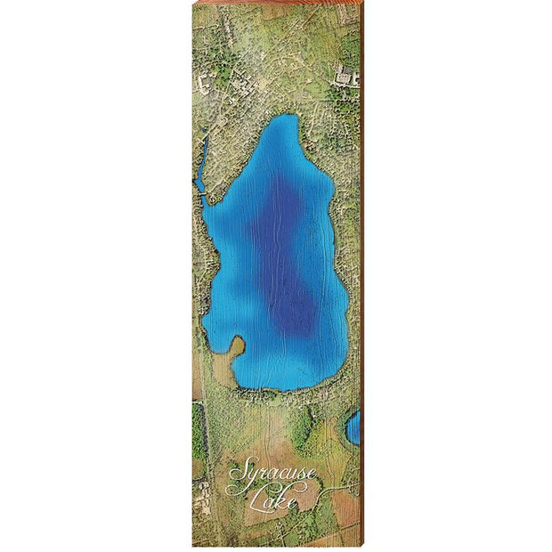 Syracuse Lake, Indiana Satellite Styled Map Wall Art-Mill Wood Art