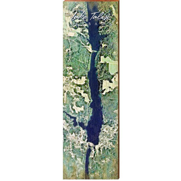 Lake Talisi, Alabama Satellite Map Wall Art-Mill Wood Art