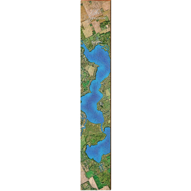 "Lake Tippecanoe, Indiana Satellite Styled Map Large | Size: 9.5"" x 60"" Wall Art-Mill Wood Art"