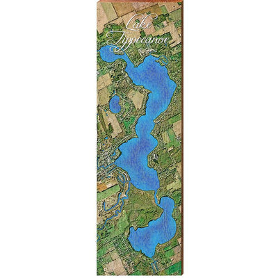 Lake Tippecanoe, Indiana Satellite Styled Map Wall Art-Mill Wood Art