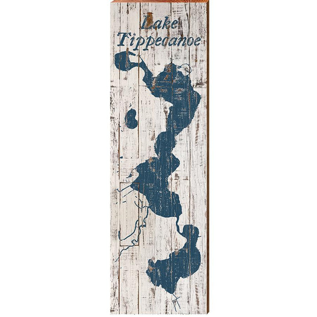 Lake Tippecanoe, Indiana Navy & White Shabby Styled Map Wall Art-Mill Wood Art