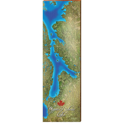 Upper Rideau Lake, Canada Satellite Map Wall Art-Mill Wood Art