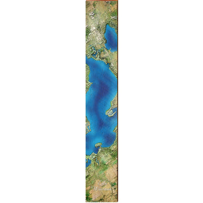 "Lake Wawasee, Indiana Satellite Styled Map Large | Size: 9.5"" x 60"" Wall Art-Mill Wood Art"