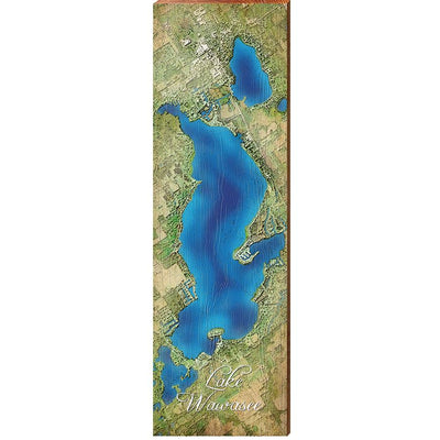 Lake Wawasee, Indiana Satellite Styled Map Wall Art-Mill Wood Art