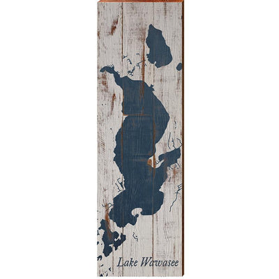 Lake Wawasee, Indiana Navy & White Shabby Styled Map Wall Art-Mill Wood Art