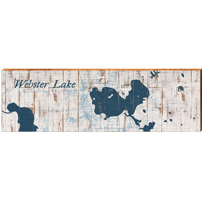 Webster Lake, Indiana Navy & White Shabby Styled Map Wall Art-Mill Wood Art