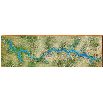 Lake Wilson, Alabama Satellite Map Wall Art-Mill Wood Art