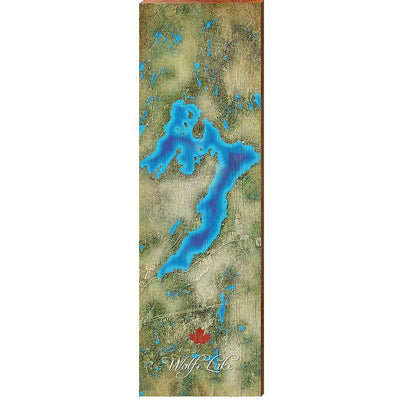 Wolfe Lake, Canada Satellite Map Wall Art-Mill Wood Art
