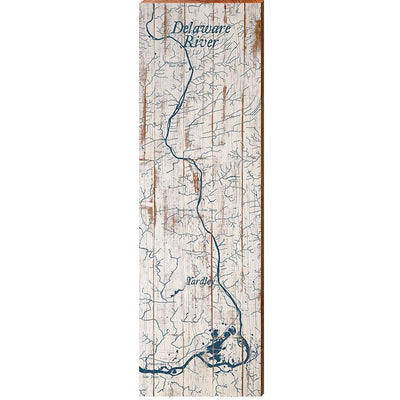 "Delaware River Shabby Map Home Decor Art Print on Real Wood (9.5""x30"") Wall Art-Mill Wood Art"