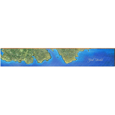 "York Harbor, Maine Satellite Styled Map Large Horizontal | Size: 9.5"" x 60"" Wall Art-Mill Wood Art"