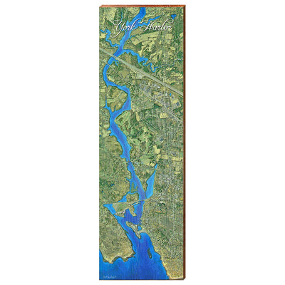 York Harbor, Maine Satellite Styled Map Vertical Wall Art-Mill Wood Art